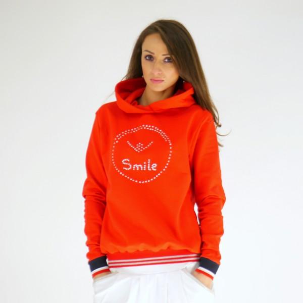 Sweatshirt aus Baumwolle mit Kapuze und Strass Steine
