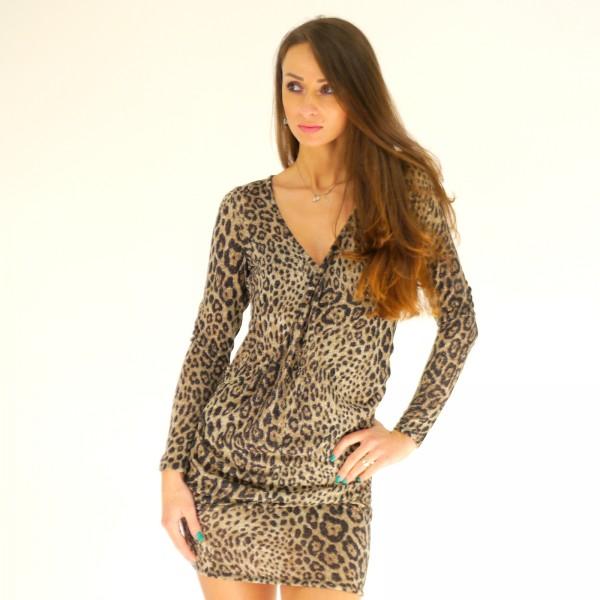 Tier Print Kleid aus Viskosejersey mit Lurex