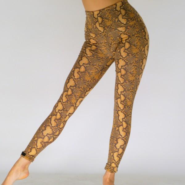 Braune Leggings aus Baumwolle mit Tier -Print