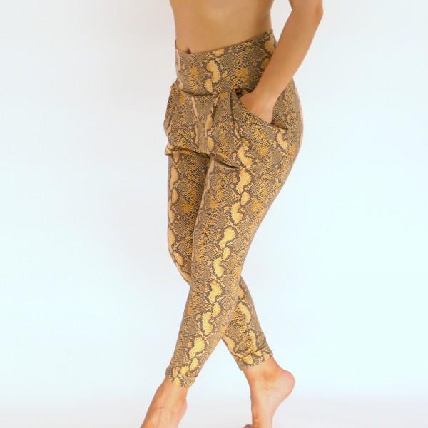 Braune Hose aus Baumwolle mit Tier -Print, Handgemachte JOGA Hose