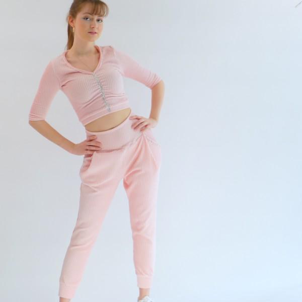 Outfit für Damen/ Zweiteiler Hose und Oberteil mit Strass Steine