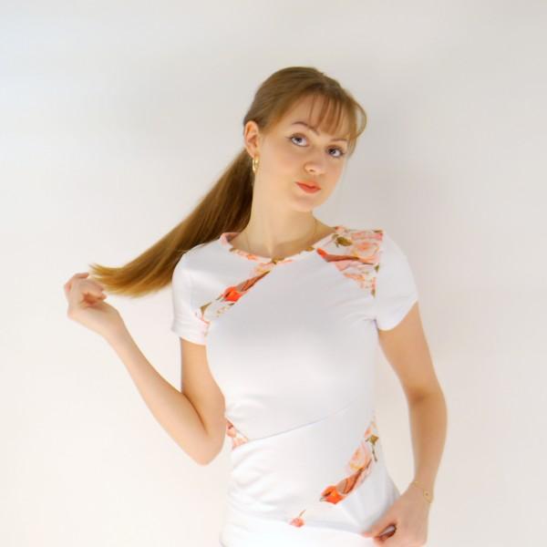Weißes T Shirt Kurzarm für Frauen