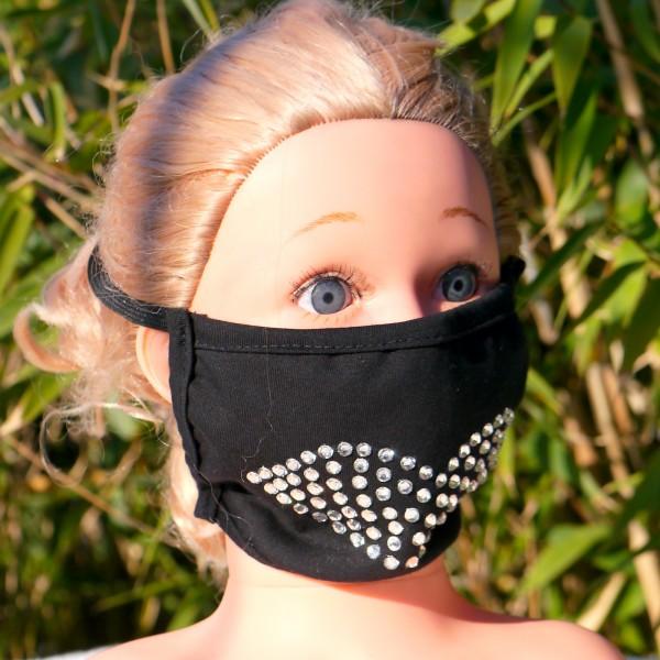 Mund und Nasen Maske dreilagig aus 95% Baumwolle+5%Elasthan mit Strass Steine