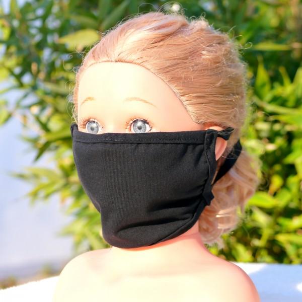 Wiederverwendbare Mund und Nasen Maske mit Gummizug schlicht schwarz