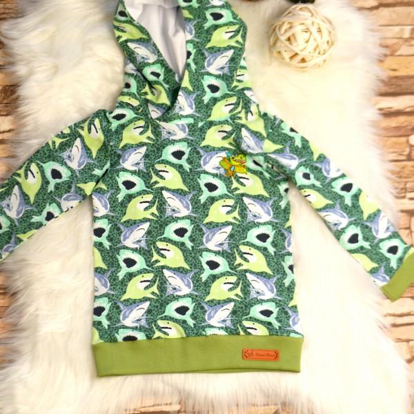 Pullover mit Kapuze, Oberteil Haifische