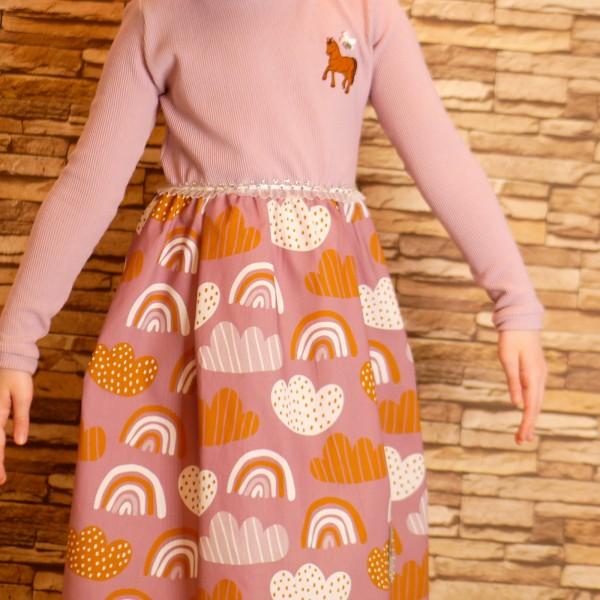 Mädchenkleid aus Baumwolle und Elastische Cord