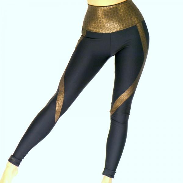 Schwarz - Goldene Leggings für Damen