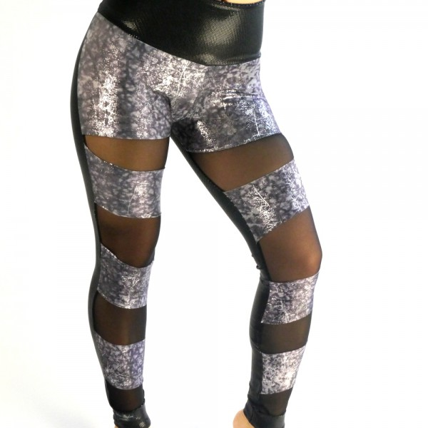 Leggings half silver black
