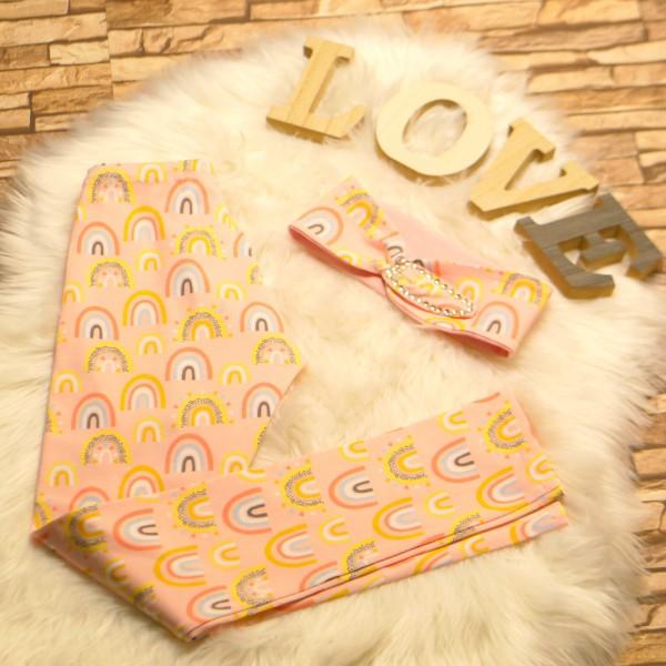 Kinder-Baby Leggings und Haarband / Stirnband Zweiteiler Baby / Kinder Set Regenbogen