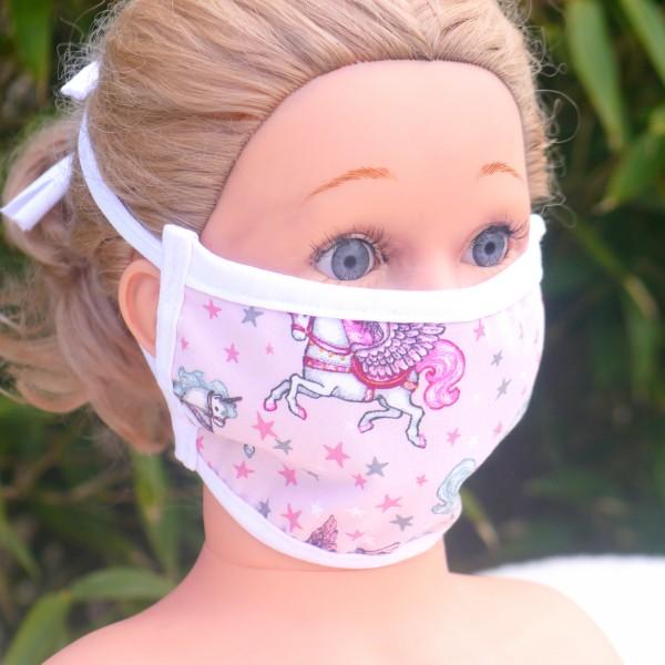 Wiederverwendbare Mund und Nasen Maske zum Binden aus Baumwolle Motiv Einhorn