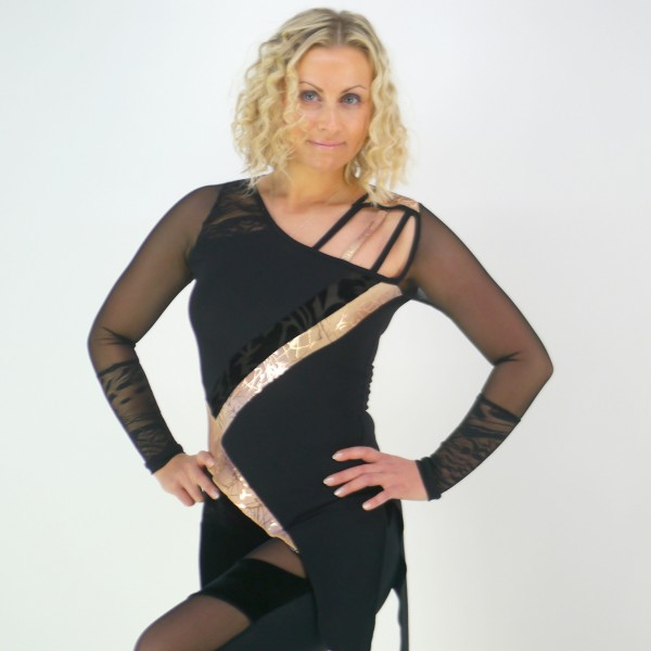 Schwarzes Oberteil halbtransparent mit Spitze und Netz für Frauen