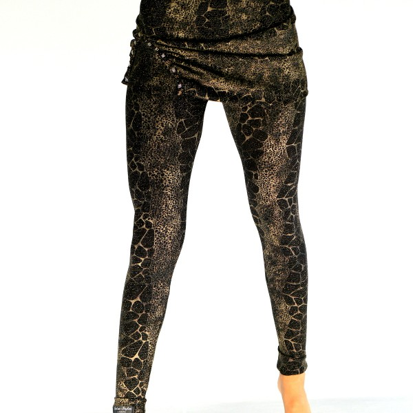 Leggings Gold-Lurex mit Rock