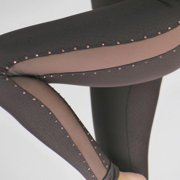 Braune Leggings mit transparenter Netz und Strass Steine