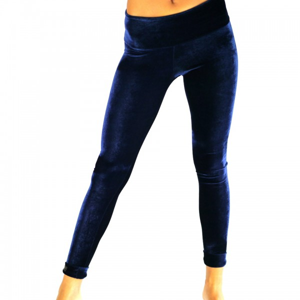 Leggings Samt Blau