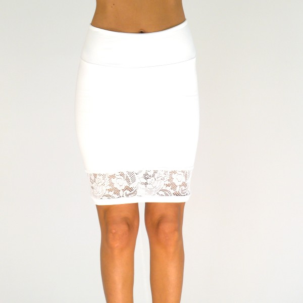 Weißer Rock aus Baumwolle und Spitze für Frauen