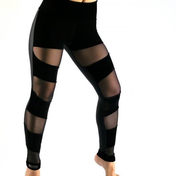 Leggings Schwarz mit Netz und Samt