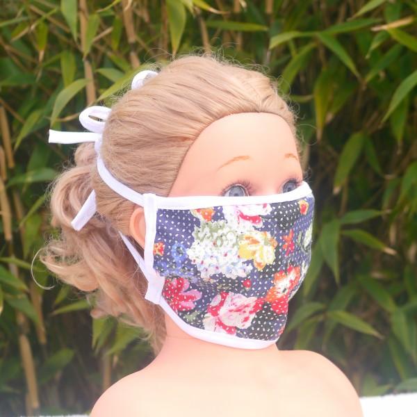 Wiederverwendbare Mund und Nasen Maske zum Binden aus Baumwolle Motiv Blumen