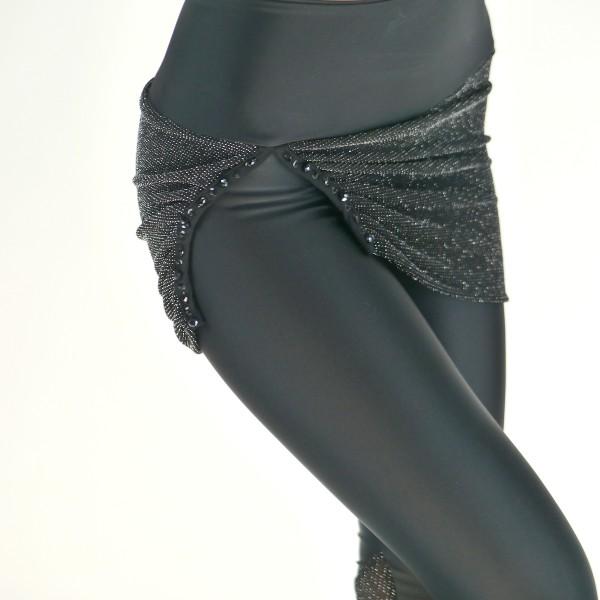 Schwarze Leggings mit Röckchen aus Anthrazit-Glitzer Stoff