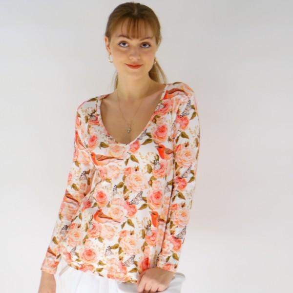 Geblümte Bluse aus Baumwolle für Frauen