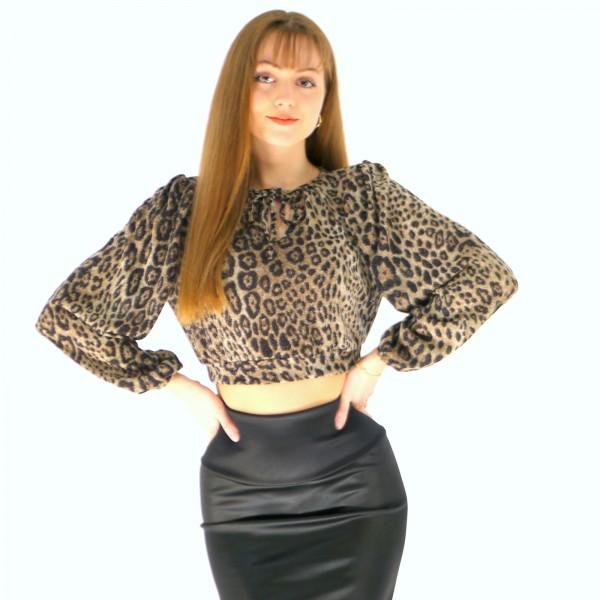 Oberteil aus Strickjersey Stoff mit Leopardenmuster