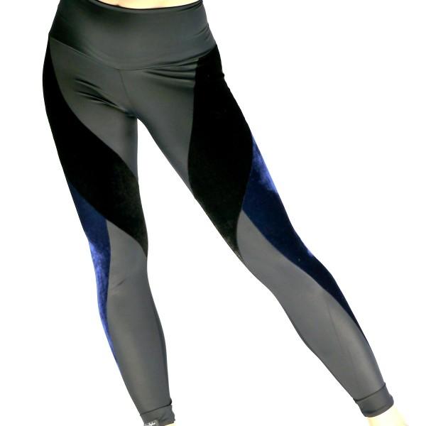 Leggings Samt schwarz-blau