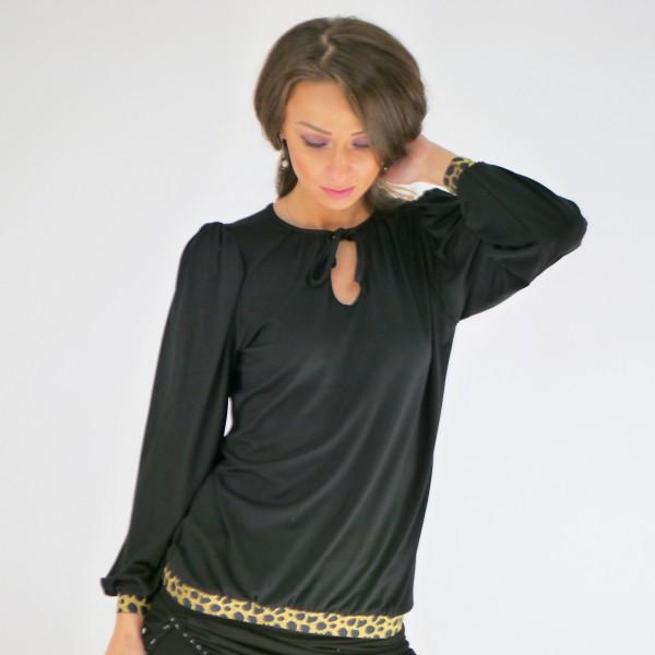 Schwarze Bluse für Frauen mit goldenen Saum