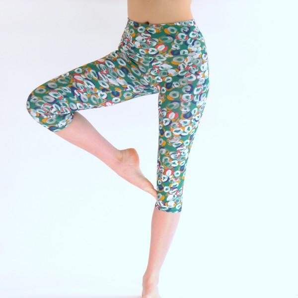 Grüne Capri Leggings aus Baumwolle/Yoga Hose Sport Hose